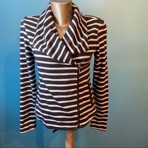 Gap striped knit moto jacket
